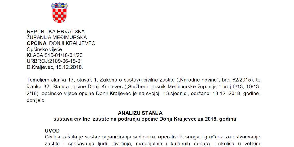 Analiza stanja sustava civilne zaštite na području općine Donji Kraljevec za 2018.