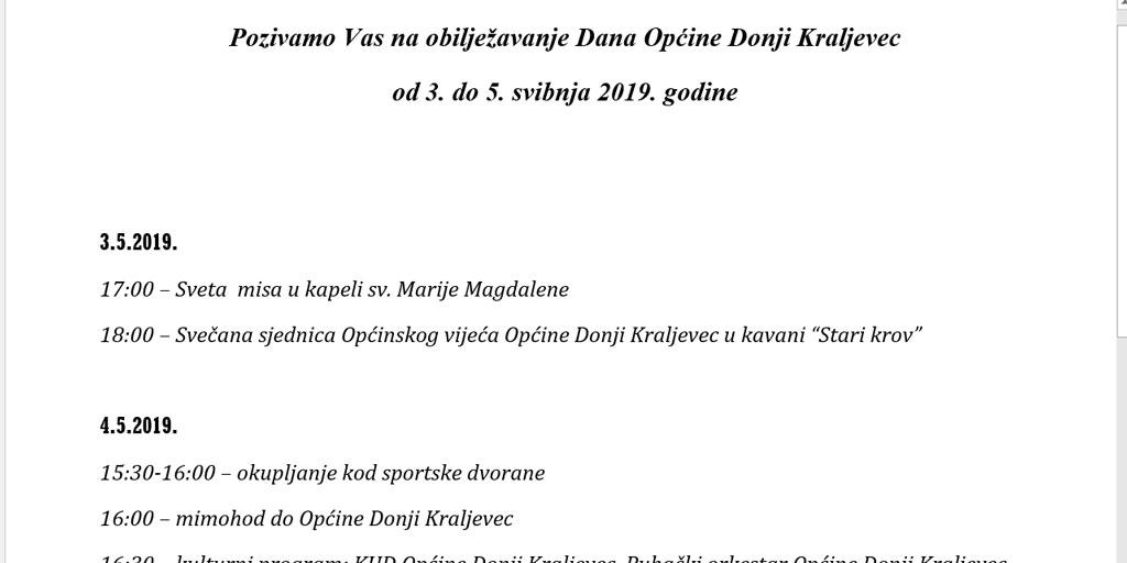 Dani Općine Donji Kraljevec  3.-5. svibnja 2019.